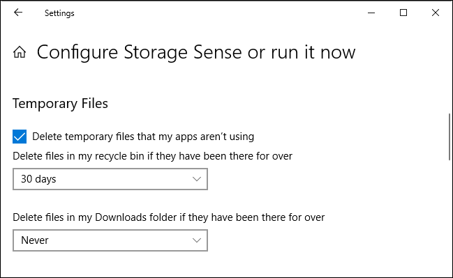 Storage Sense's recycle bin and Downloads options