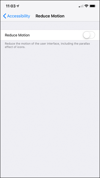 A screenshot of the iPhone's Reduce Motion page.