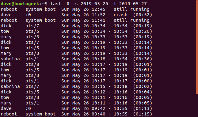 Output from last -R -s 2019-05-26 -t 2019-05-27 in a terminal window