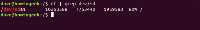 Routing df with grep in a terminal window