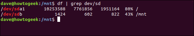 Routing df by grep with a floppy disk drive mounted in a terminal window
