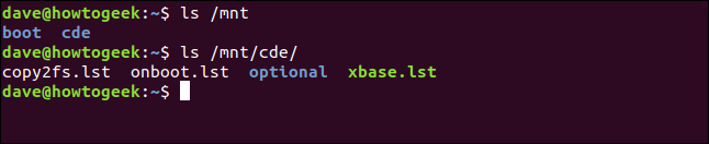 List the files on a mounted ISO image in a terminal window
