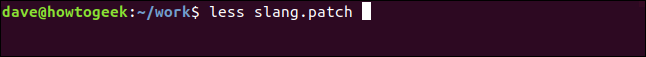 less slang.patch in a terminal window