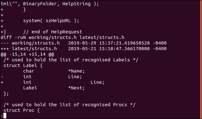 less slang.patch showing the middle of the file in a terminal window