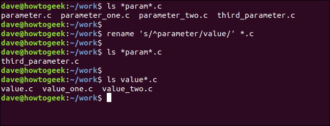 rename 's/^parameter/value/' *.c in a terminal window