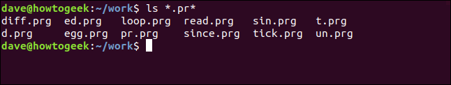 ls *.pr* in a terminal window