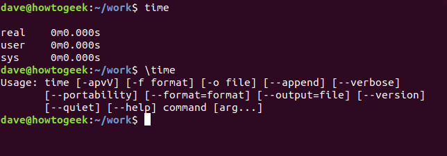 time and \time output in a terminal window