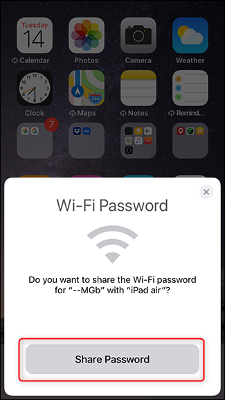 Step 5 - Tap share password