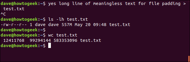 generating test files with yes i a terminal window