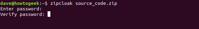zipcloak in a terminal window