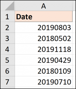 Dates in the yyyymmdd format
