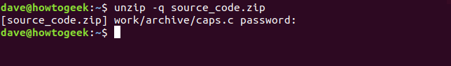 the unzip with password command in a terminal window