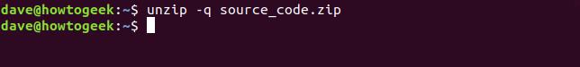 unzip -q option in a terminal window