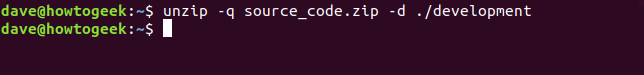 unzip to a target directory in a terminal window