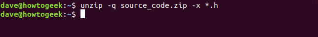 unzip exclude option in a terminal window