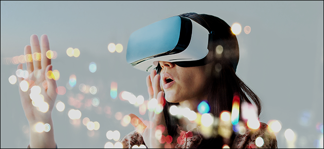 A woman experiencing 4K VR with DisplayPort 2 technology.