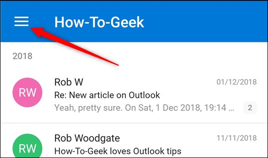 The hamburger icon in the Outlook mail app