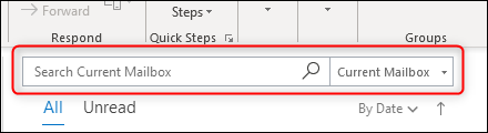 The Outlook Search box