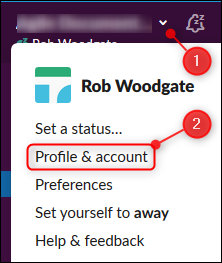 "The ""Profile & account"" option"