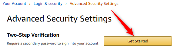 """The """"Two-Step Verification"""" Get Started button"""