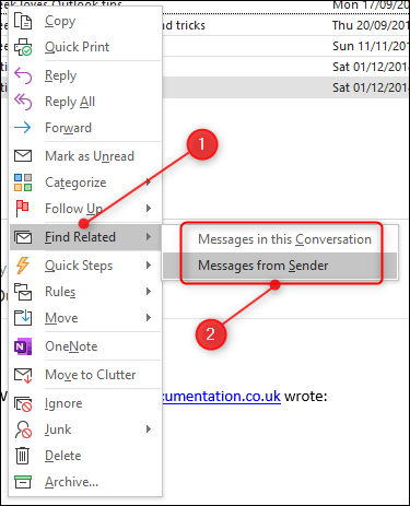 "The ""Find Related"" menu option, with ""Messages from Sender"" highlighted"