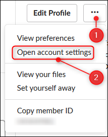 """The """"Open account settings"""" option"""
