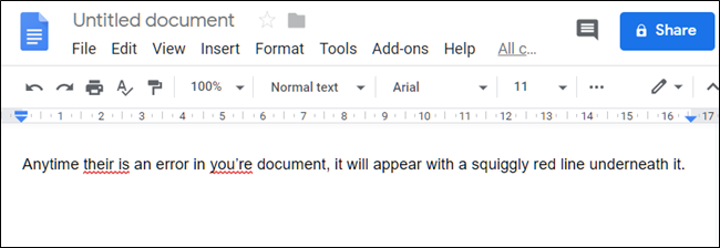 Example of poor spelling and grammar in Docs