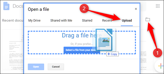Click the Folder icon, then the Upload tab before dragging a file into the browser window