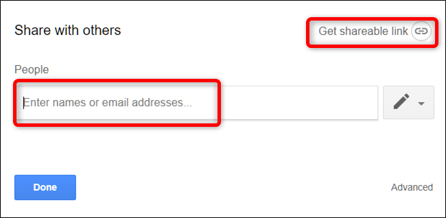 "Type email addresses or click ""Get Shareable Link."""