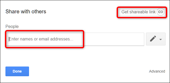 Enter the email addresses to send an email or click Get Shareable Link to manually send the link
