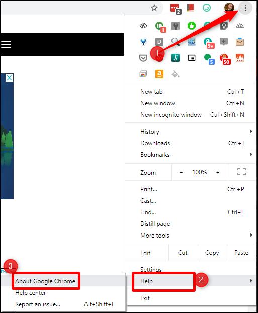 Chrome's menu