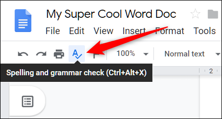 Click the A icon to enable spell check