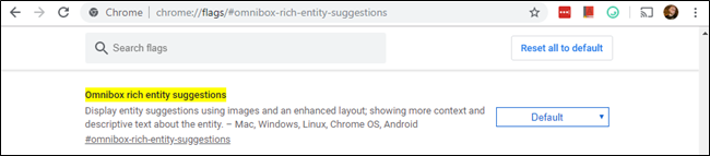 Chrome's Omnibox rich entity suggestions flag