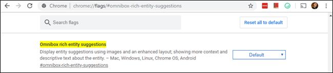 Chrome's Omnibox rich entity suggestions flag