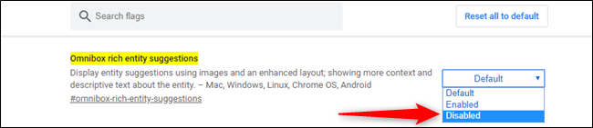 Disabling Chrome address bar rich image suggestions