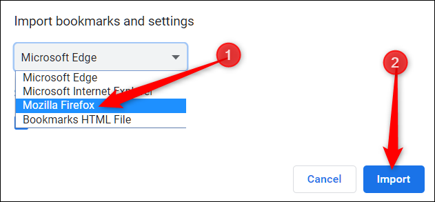 Select a browser from the drop-down menu, then click Import