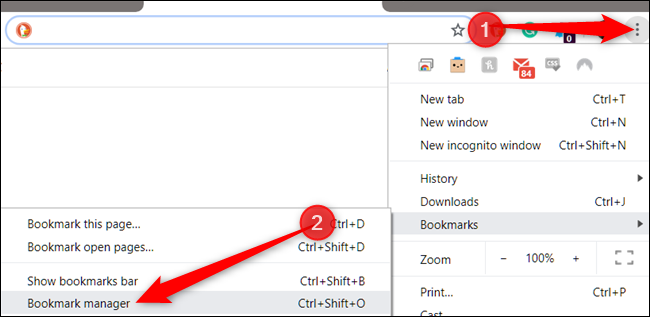 "Click the menu icon, point to ""Bookmarks,"" and then click ""Bookmark Manager."""