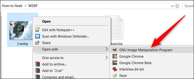 Open a WebP with an alternate application on Windows