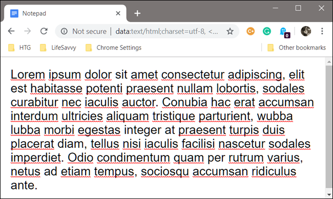 Example of a custom notepad inside of Google Chrome
