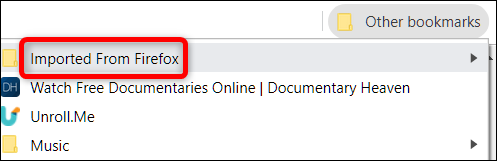 After the import is complete, a folder is created containing all your bookmarks