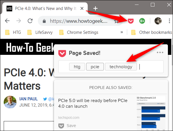 Click the Pocket icon to save a page for reading later