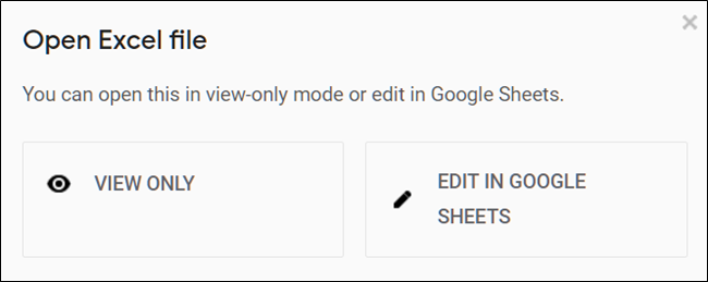 Click either View or Edit the Excel file