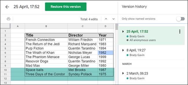 Google Sheets revision history