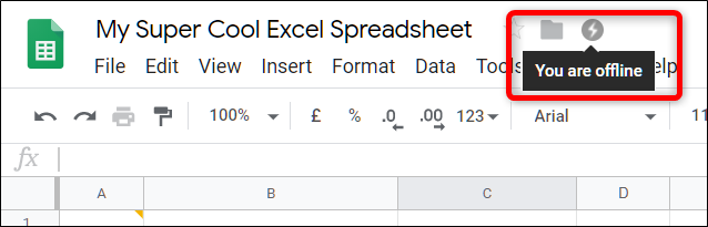 When offline, your spreadsheet shows this icon