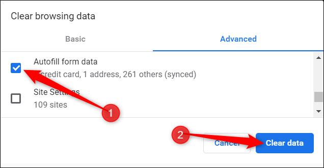 Asegúrese de que la opción Autocompletar datos del formulario esté marcada y luego haga clic en Borrar datos