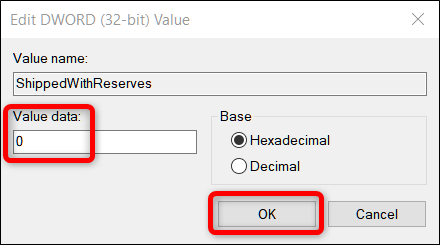 Set the Value Data to 0, then click OK