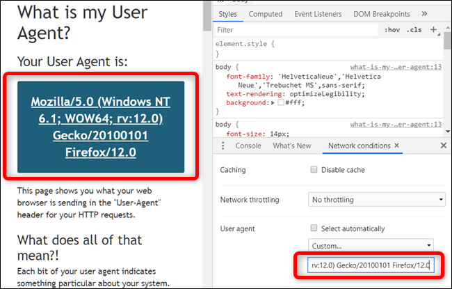 Go to a website with the Developer Tools still open to view it using the specified user agent