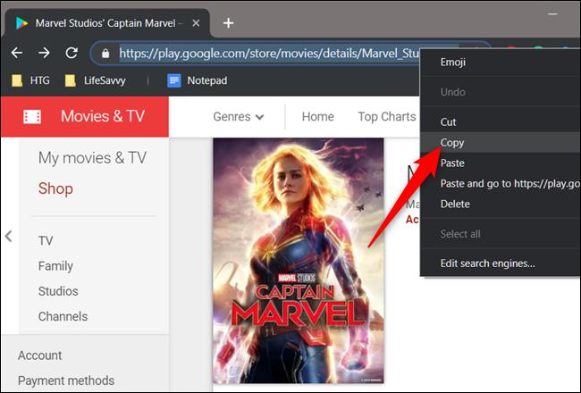 Highlight the URL, right-click it, then click Copy