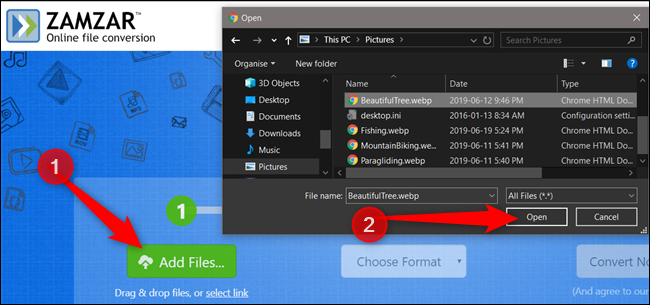 Click Add Files, select an image, then click Open to upload an image to the conversion website