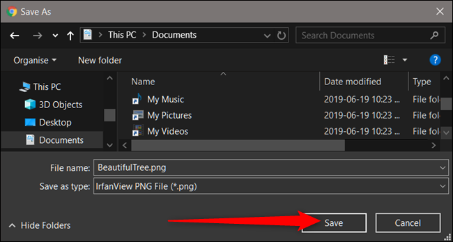 Choose a destination for the files, then click Save